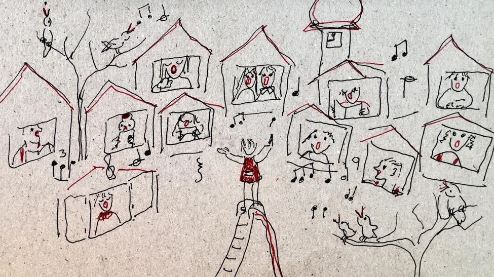 Zeichnung Sänger in ihren Häusern
